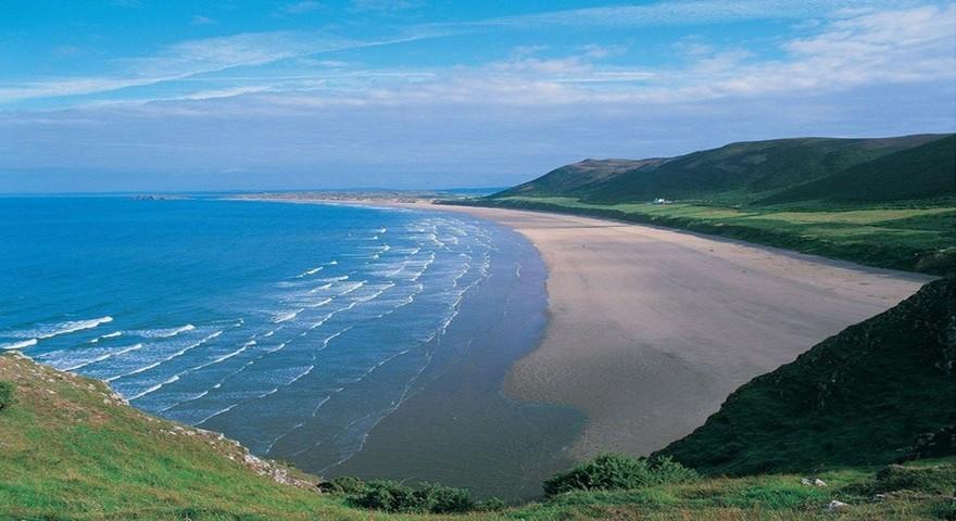 Plage de Rhossili Bay, Swansea au Pays de Galles