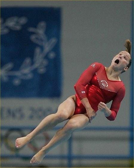 Photo hilarante d'une gymnaste