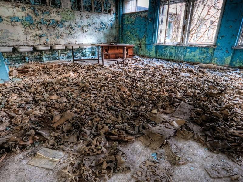 Une classe d'école abandonnée à Tchernobyl