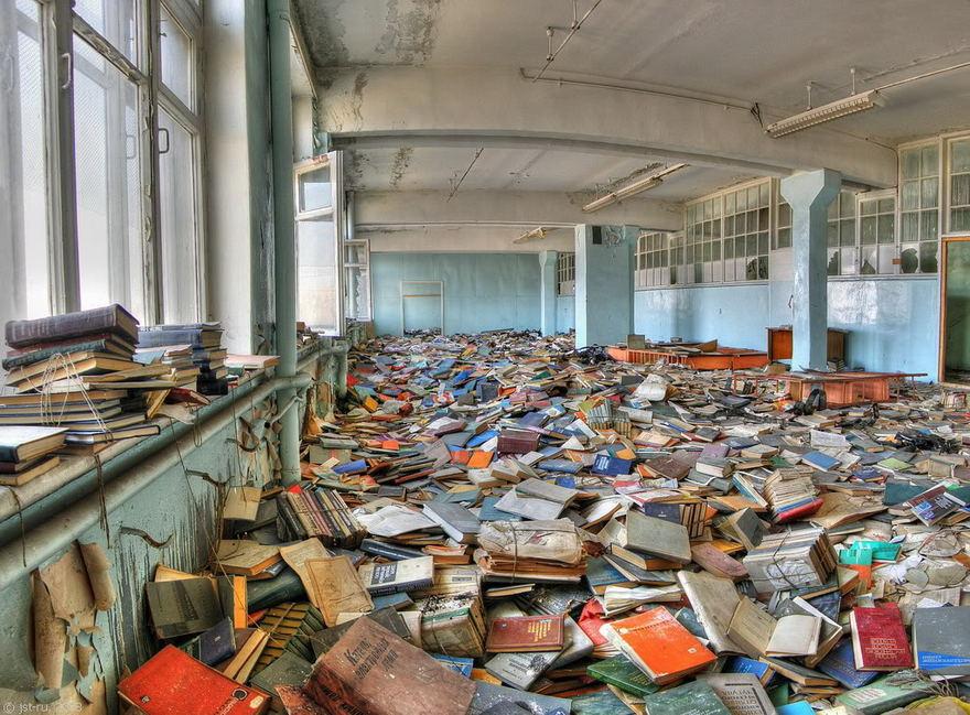 Une librairie abandonnée à Moscou en Russie.